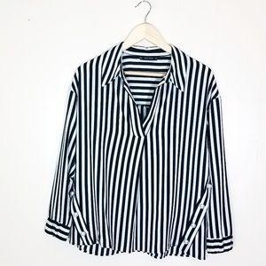 Zara Striped Pearl Blouse